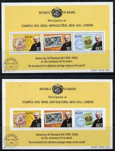 Nauru 1979 Rowland Hill IMPERF m/sheet plus normal (SG MS...