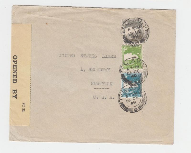 PALESTINE -US 1940 CENSOR COVER, TAPE 6A1-YELLOW PAPER-NOT LISTED(SEE BELOW