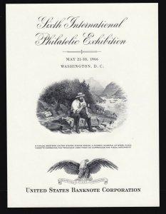 US  SO-1 1966 6th International Philatelic Exhibition Souvenir Card