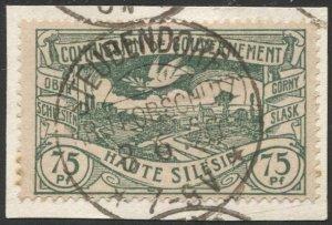 UPPER SILESIA Germany 1920 Sc 26  75pf  Used, VF, STEUBENDORF cancel, rare shade
