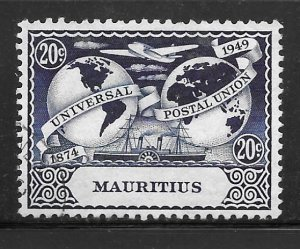 Mauritius 232: 20c Plane, Ship and Hemispheres, unused, NG, F-VF