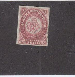 NEWFOUNDLAND (MK6785) # 23  FVF-USED 1sh 1861-2  ST JOHN'S IMPERF /ROSE  CV $140