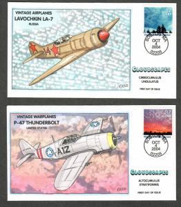 US Collins FDC SC#3878a-c Airplanes, Cloudscapes