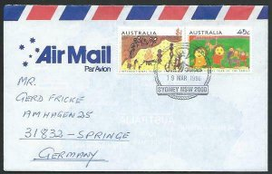 AUSTRALIA 1996 cover to Germany - nice franking - Sydney pictorial pmk.....53492