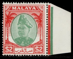 MALAYSIA - Selangor GVI SG109, $2 green & scarlet, NH MINT. Cat £15.