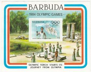Barbuda; 1984 Olympic Games Sheetlet, $5 Rate, MNH, Torch Starts Its Journey