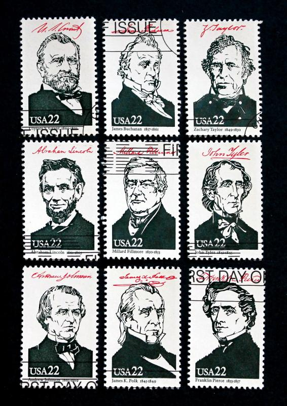 US Stamps Sc# 2217a-j Used Singles 22 Cent AMERIPEX '86 (1986) Clean Set