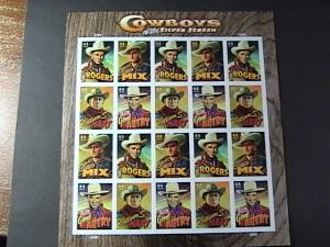 U.S.# 4449a(4446-4449)-MINT/NH--PANE OF 20-COWBOYS OF THE SILVER SCREEN -2011