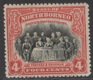 NORTH BORNEO SG164 1909 4c SCARLET p13½-14 MTD MINT