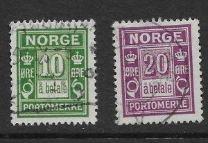 Norway J8-9 1922 set 2  VF  Used
