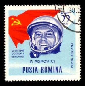 Romania 55 ban Pavel Popowitsch, Astronauts Space Flags, 1964 Scott.C156