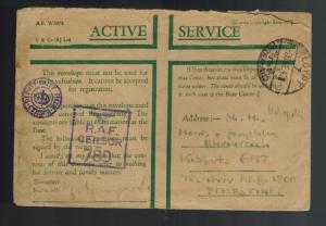 1942 England FPO Egypt Cover to Palestine RAF Censorship Active Service Envelope
