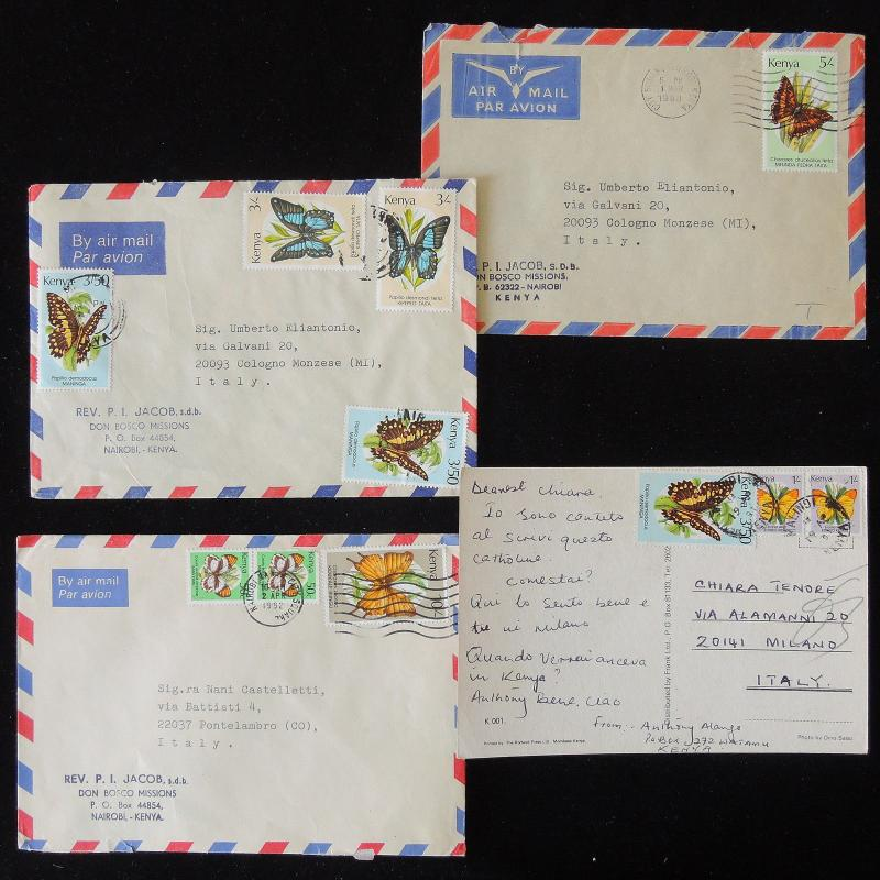 ZS-Y792 BUTTERFLIES - Kenya, Airmail To Italy, Lot Of 4, W/Postcard Covers