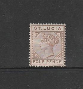St Lucia 1891/8 QV Die 2 4d MM SG 48