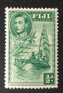 Fiji: 1938 KGVI definitive 0.5d green, Extra Frond Variety, SG 249ba, Mint
