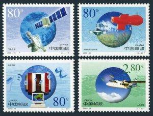 China PRC 3066-3069, MNH. WMO-50, 2000. Weather satellite, computer, plane.