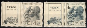 Czechoslovakia #334-5  F-VF Unused  With Labels CV $5.00  (X269)
