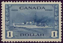 Canada USC #262 Mint VF-NH Cat. $150. 1942 Ship $1. Destroyer
