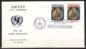Costa Rica, Scott cat. C533-C534. UNICEF Anniversary issue.First day cover. ^