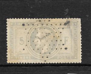 FRANCE  1869  5f   NAPOLEAN   FU    Sc 37 SG 131  CV 1100pds