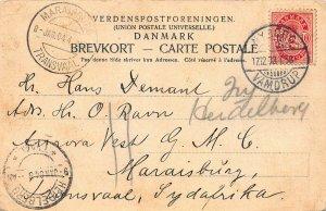 Denmark 10 ore on 1904 Odense, Denmark, Postcard Sent to Transvaal, 3 cancels
