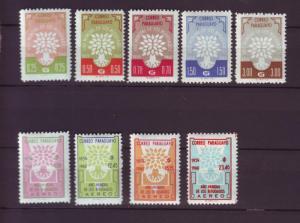 J3820 JLS stamps 1960 paraguay set/9 mh #560-4,c265-8 wry