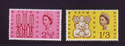 Great Britain Sc390-1 1963 Freedom from Hunger stamps NH