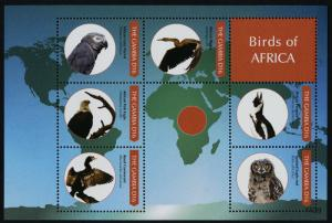 Gambia 3397 MNH Birds of Africa, Parrot, Owl, Eagle, Penguin, Map