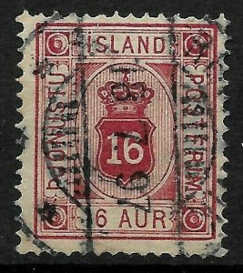 Doyle's_Stamps: Very NICE 1876 Iceland 16 Aur Official Stamp, Scott #O7 (L1)
