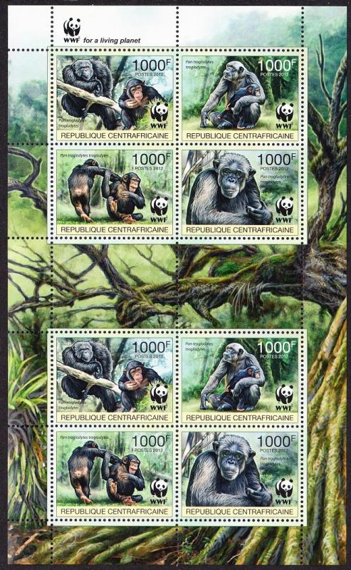 Central African Rep. WWF Central Chimpanzee Sheetlet of 2 sets /8 stamps