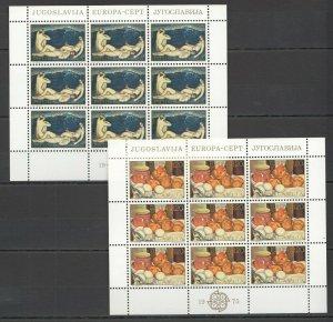 EC010 1975 YUGOSLAVIA EUROPA CEPT ART PAINTINGS FOLKLORE 2KB MNH