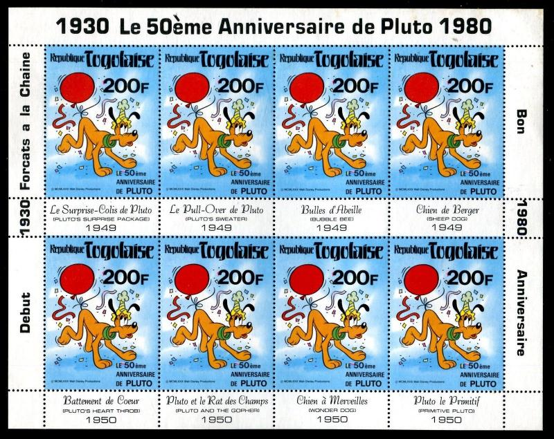 Togo 1070a  Disney characters Pluto 50th Ann. 1980 x14665