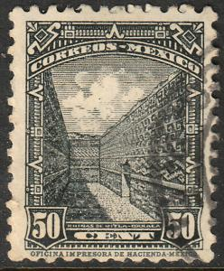 MEXICO 718, 50c RUINS OF MITLA 1934 DEFINITIVE USED (544)