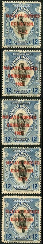 NORTH BORNEO SG265a 1922 MBE 12c STOP after Exhibition From ALL 5 Positions