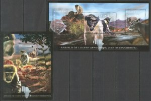 BC034 2012 GUINEA FAUNA EXTINCTION AFRICAN WILD ANIMALS 1KB+1BL MNH