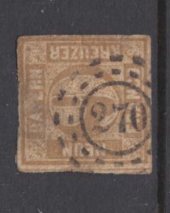 Bavaria Sc 12 used. 1862 9kr bister Numeral, 270 open Millwheel cancel.