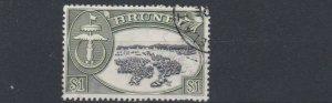 BRUNEI  1952 - 58    S G  111   $1  BLACK & GREEN  USED