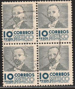 MEXICO 952, $10Pesos 1950 Definitive 3rd Ptg wmk 350 BLK 4. USED. F-VF. (1434)