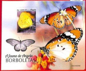 A1565 - ANGOLA - ERROR: MISSPERF  SHEET - 2019, Butterflies
