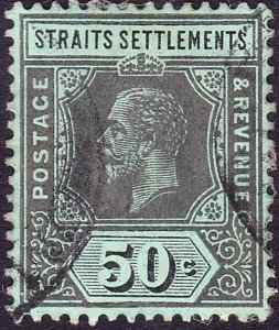 MALAYA STRAITS SETTLEMENTS 1918 KGV 50c Black/Green on Blue-Green, Olive Gree...
