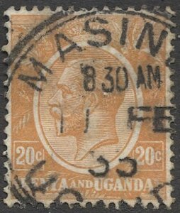 KENYA & UGANDA 1922 Sc 25  20c Used VF, MASINDI postmark/cancel