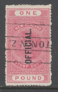 New Zealand Sc O40, SG O84 used. 1913 £1 rose carmine QV Official, Perf 14 sound