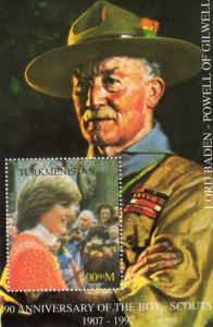 Turkmenistan 1997 YT#12 Lord Baden-Powell/Princess Diana with Scouts SS Perf.MNH