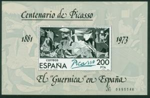 SPAIN 2252, CENTENARY OF THE BIRTH OF PICASSO, GUERNICA 1981 SOUV SH, MNH VF.