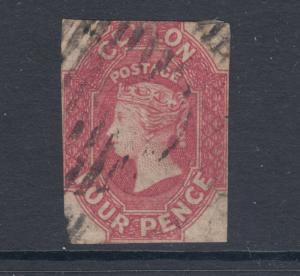 Ceylon SG 52, Sc 50a, used. 1865 4p rose carmine QV, trimmed to resemble SG 4