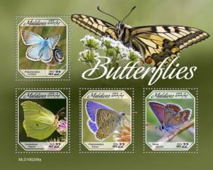 MALDIVES - 2019 - Butterflies  - Perf 4v Sheet - MNH