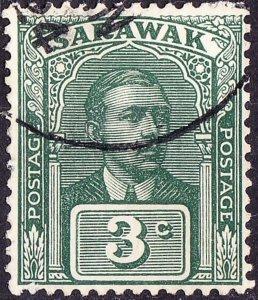 SARAWAK 1928 3 Cents Green SG78 Fine Used