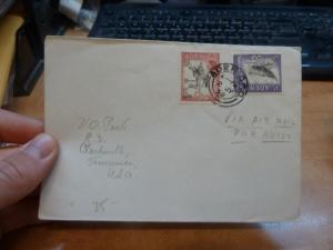 Aden 1958 2/- Camel 1/- Dhow A/M cover Aden GPO to USA (1bef)
