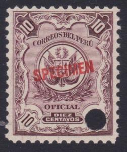 PERU 1909 OFFICIAL 10c optd SPECIMEN in red + security punch hole...........7974