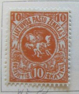 A11P4F1 Litauen Lituanie Lithuania 1919 Wmk Wavy Lines 10sk White Paper MH*